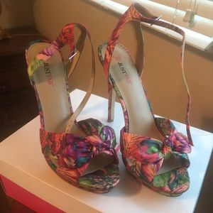JustFab Shoes - Floral pink heels with bow